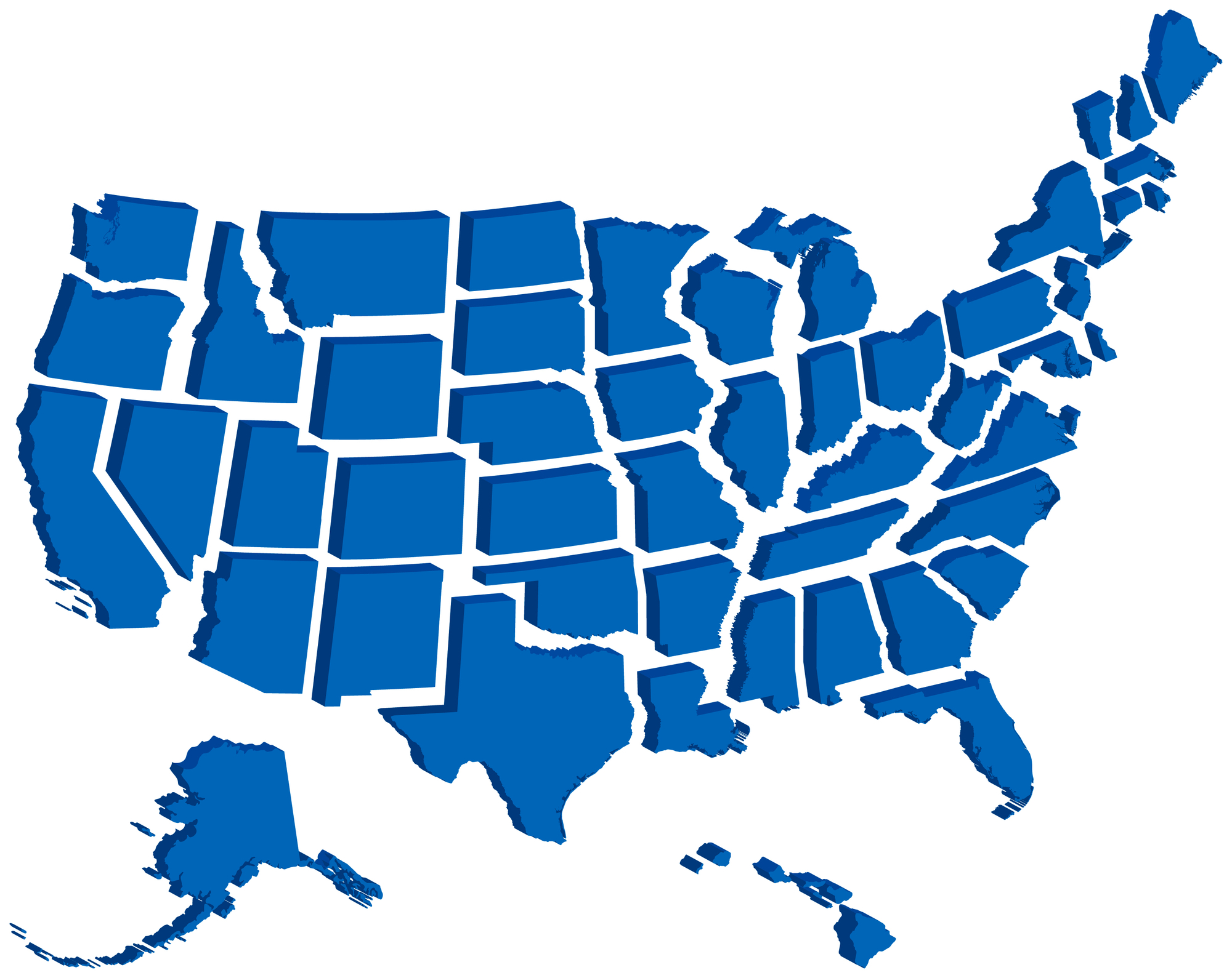 A three-dimensional map of all 50 U.S. states set over a white background.
